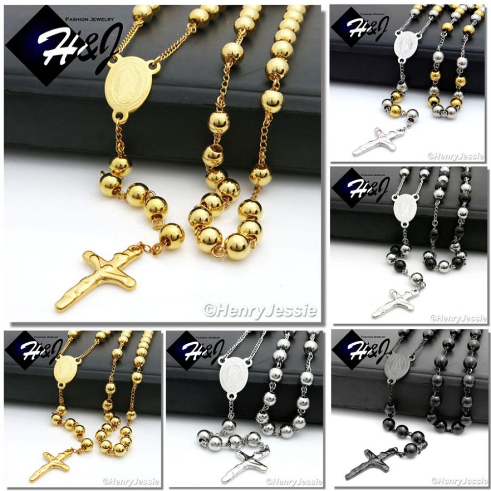 """30+5/""""MEN Stainless Steel HEAVY 8mm Black Beads Virgin Mary Rosary Necklace*RN10"""