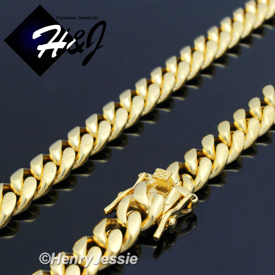 """8.5/""""MEN Stainless Steel 14x6mm Gold Tone Miami Cuban Curb Link Chain Bracelet"""