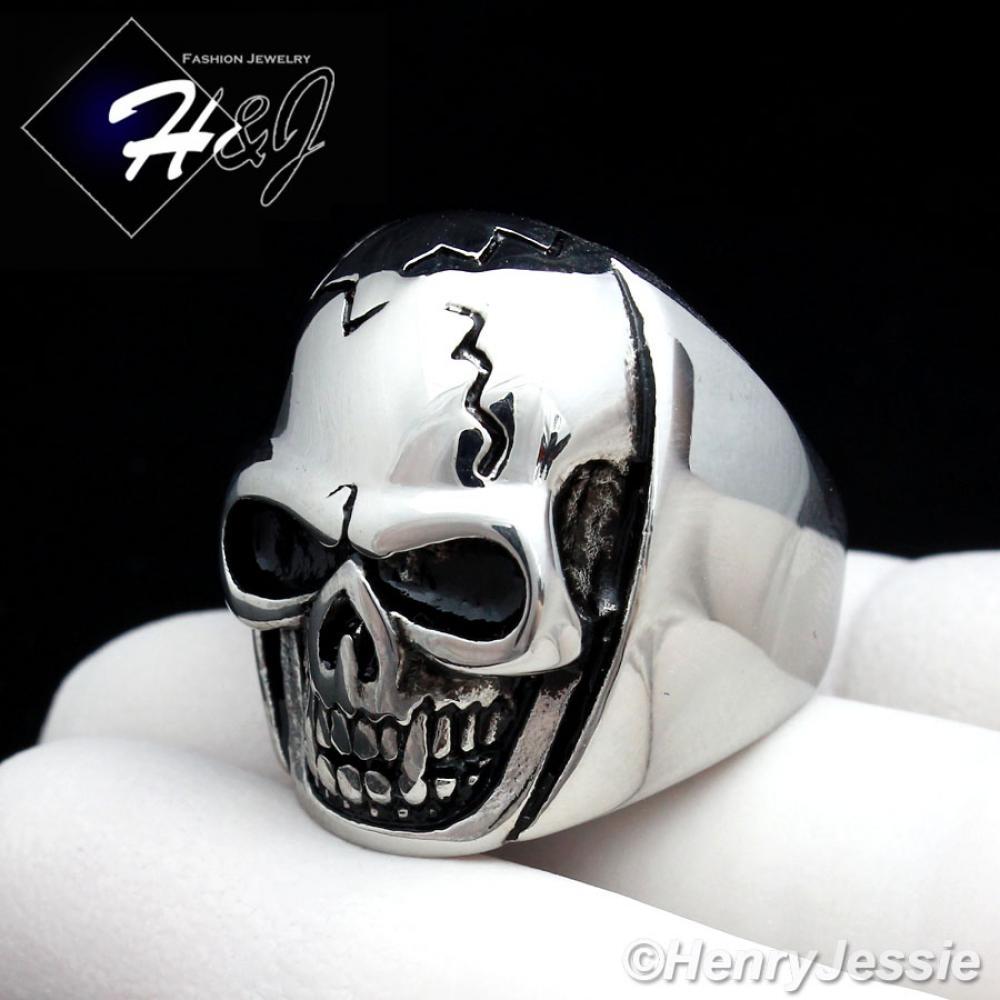 BIKER MEN Stainless Steel Silver Black Skull Face Head Ring Size 8-13*R91