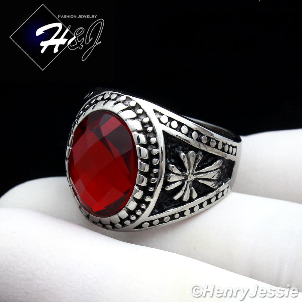 MEN/'s Stainless Steel Gold Tone Ruby Ring Size 8-13*R81