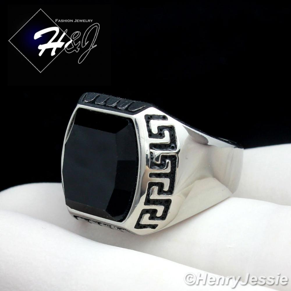 MEN's Stainless Steel Silver Black Onyx Greek Key Design