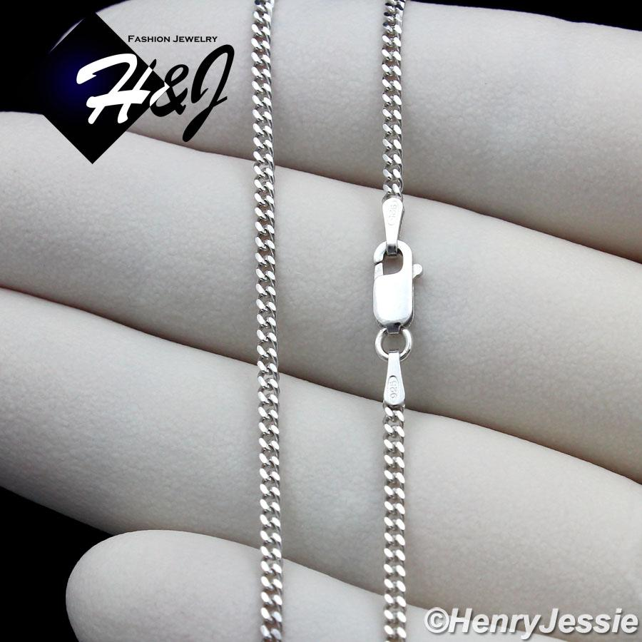 "24/""MEN 925 STERLING SILVER 2MM MIAMI CUBAN LINK CHAIN PLAIN CROSS PENDANT*SP194"
