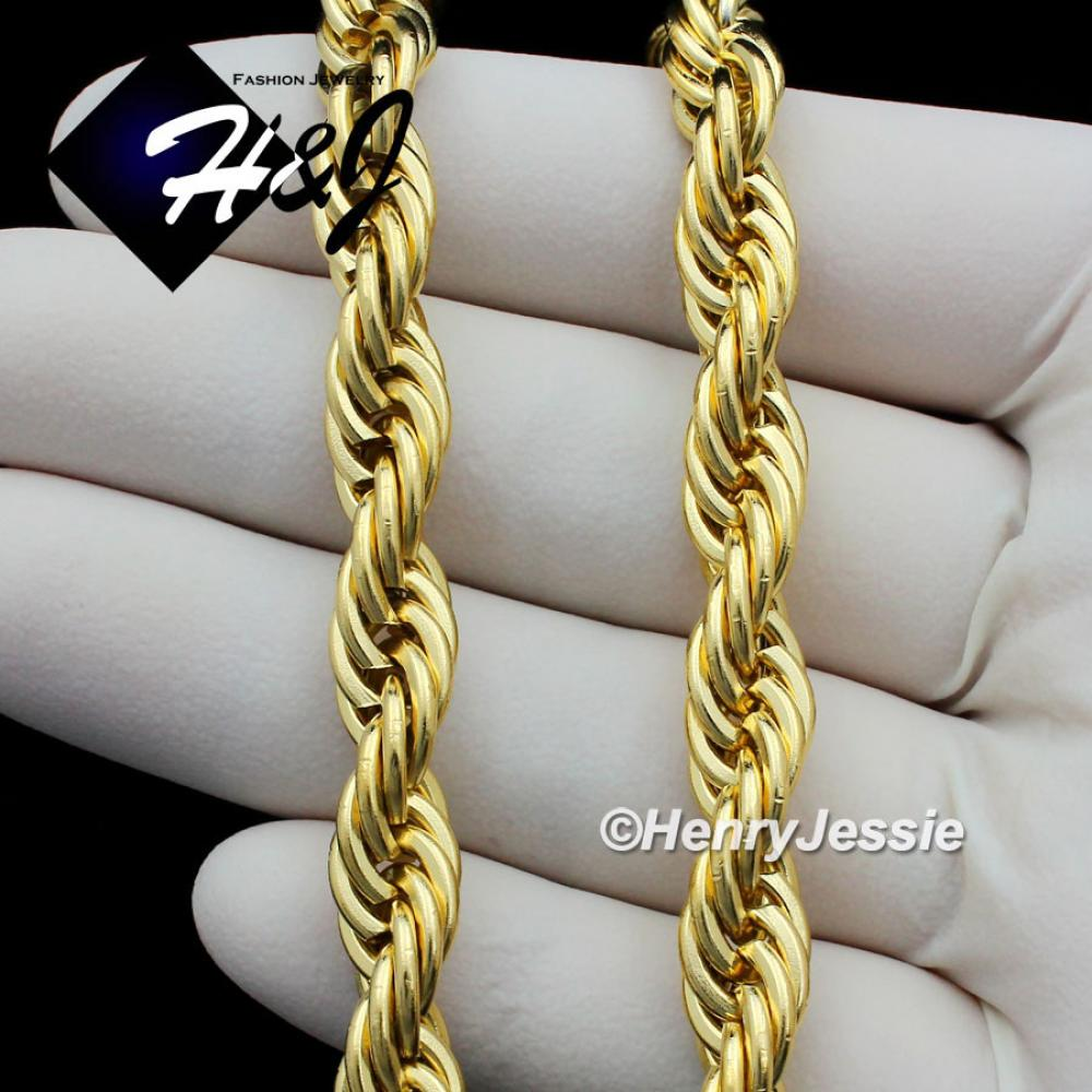 17202430MENs Stainless Steel 8mm Gold Smooth Rope Chain