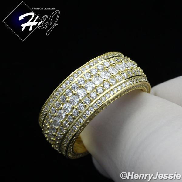MEN 925 STERLING SILVER ICY DIAMOND BLING GOLD 3D STAR RING*GR107